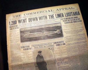 """1,200 went down with the liner Lusitania"""